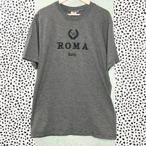 Other - Micro Stripe Graphic Tee Embroidered 'Roma Italia'